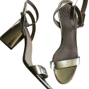 Tory Burch Metallic Block Heeled Sandals